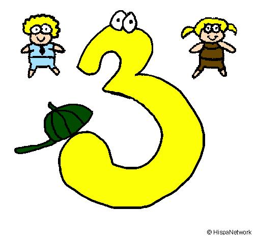 Desenho Três pintado por leticia gabriely