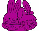 Desenho Coelhos apaixonados pintado por geovanna