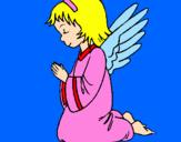 Desenho Anjo a orar pintado por ana luiza
