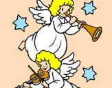 Desenho Anjos musicais pintado por anónimo
