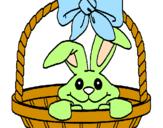 Desenho Coelhito em cesta pintado por jaqueline
