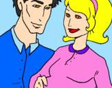 Desenho Pai e mãe pintado por Vanessa Lima