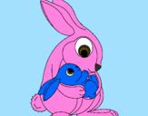 Desenho Mãe coelho pintado por ian
