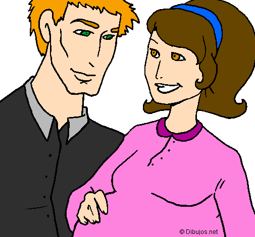 Desenho Pai e mãe pintado por familia