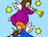 Desenho Anjos musicais pintado por iuna