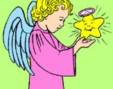 Desenho Anjo e estrela pintado por jaqueline 11 anos