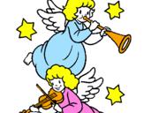 Desenho Anjos musicais pintado por any