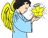 Desenho Anjo e estrela pintado por Gislaine