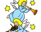 Desenho Anjos musicais pintado por enzo