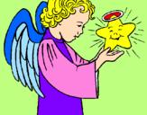 Desenho Anjo e estrela pintado por amanda