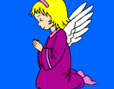 Desenho Anjo a orar pintado por Maria Júlia  Cardoso