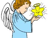 Desenho Anjo e estrela pintado por maura