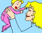 Desenho Mãe e filho  pintado por RAQUEL  TOSTA