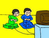 Desenho Crianças a brincar pintado por DANIEL