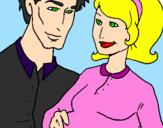 Desenho Pai e mãe pintado por rafaella