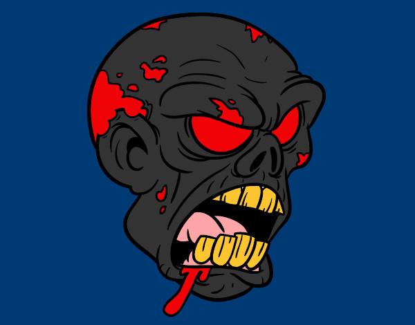 Desenho Cabeça de zombie pintado por igor