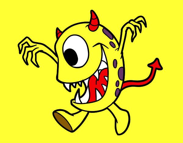 Desenho Monstro com um olho pintado por edilberto
