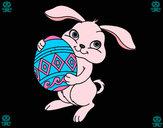Desenho Coelho com ovo Páscoa pintado por edineiacg