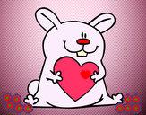 Desenho Coelho com coração pintado por kekel