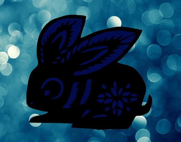 Desenho Signo do coelho pintado por cras