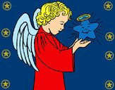 Desenho Anjo e estrela pintado por veluda