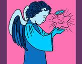 Desenho Anjo e estrela pintado por chriskdepp