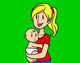 Desenho Em braços da mãe pintado por Chrystian