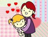 Desenho Abraço com a mãe pintado por Chersky