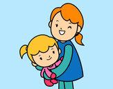 Desenho Abraço com a mãe pintado por Riteinha