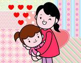 Desenho Abraço com a mãe pintado por luzinda