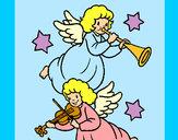 Desenho Anjos musicais pintado por culerbox