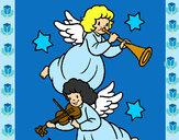 Desenho Anjos musicais pintado por taynarag