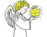 Desenho Anjo e estrela pintado por luzinda