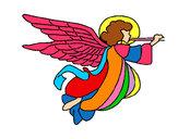 Desenho Anjo com grandes asas pintado por flora