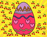 Desenho Ovo com corações pintado por luzinda