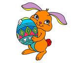 Desenho Coelho com ovo Páscoa pintado por ildejor