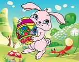 Desenho Coelho com ovo Páscoa pintado por lulindaana