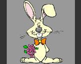 Desenho Coelho com ramo de flores pintado por Demi