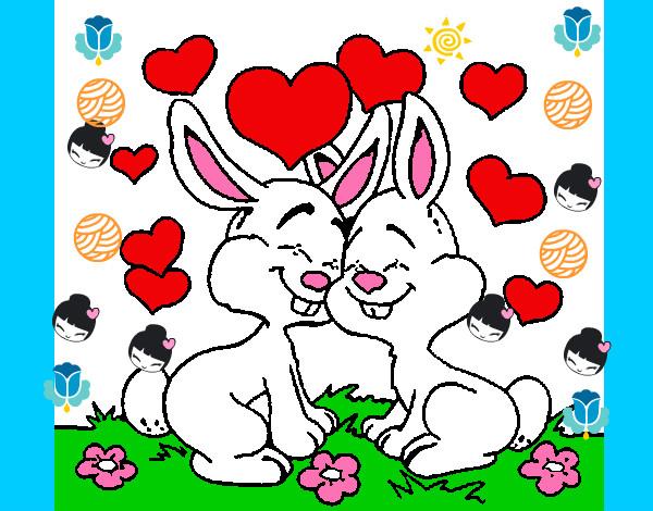 Desenho Coelhos no amor pintado por victoriaro