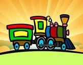 Desenho Trem com vagão pintado por torquato08