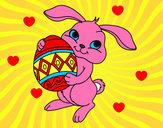 Desenho Coelho com ovo Páscoa pintado por Cristiinna