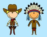 Desenho Vaqueiro e índio contentes pintado por FernandaCr