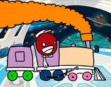 Desenho Trem com maquinista pintado por sism