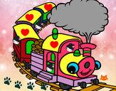 Desenho Trem sorridente pintado por mica