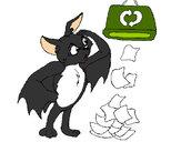 Desenho Morcego a recliclar pintado por tron