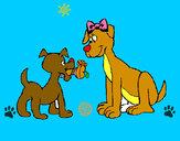 Desenho Mamã cadela pintado por cauabarao