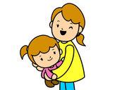 Desenho Abraço com a mãe pintado por beatrizmir