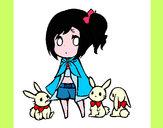 Desenho Menina com coelhinhos pintado por Kay2014