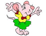 Desenho Rata com vestido pintado por dika