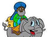 Desenho Rei Baltasar a elefante pintado por isad